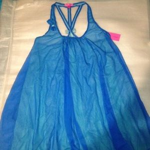 Betsey Johnson Blue Bow Pajama Sleepwear Dress